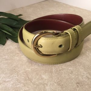Coach light green leather belt gold hardware M